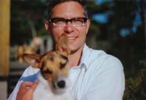 Andrew Pyper, with dog Madox